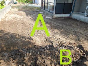 耕した後の地面AB
